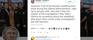 Trump Urges DOJ Investigation of Obama Administration's Role in Russian Meddling